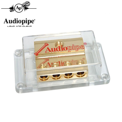 Audiopipe 1 to 4 Power Distribution Block 24kt Gold 1/0 Ga In 4 Ga Out PB-1044