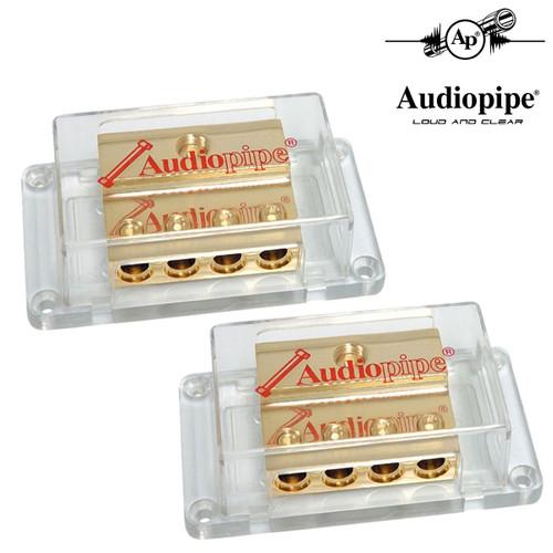 2-Pack Audiopipe Power Distribution Block 24kt Gold 1/0 Ga In 4 Ga Out PB-1044