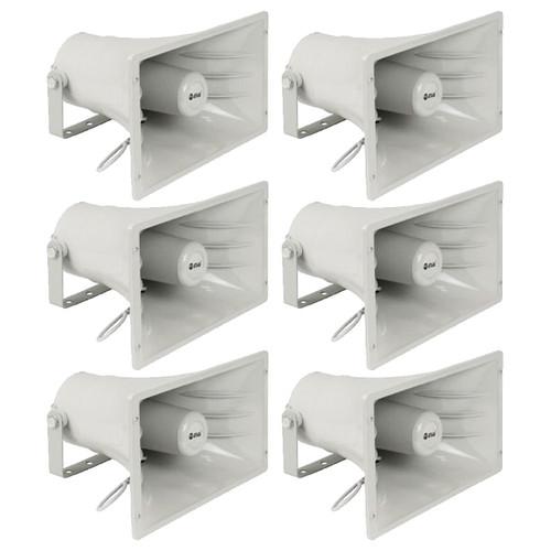 6-Pack PA Power Horn Speaker 50W RMS Indoor Outdoor 100 Watt Max Power