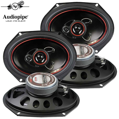 "Audiopipe 6x8"" 3-Way CSL Series Coaxial Car Speakers 300 Watts (2-Pairs)"