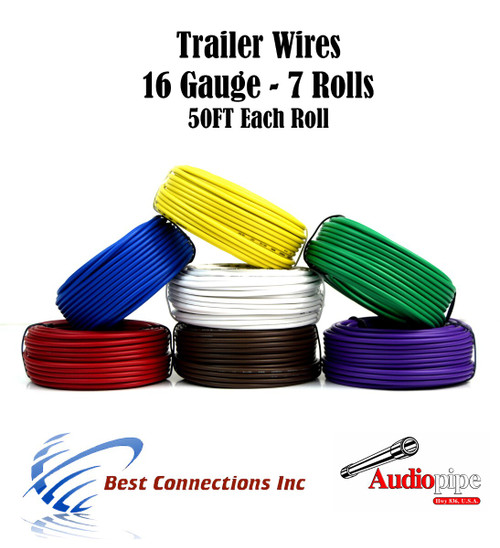 Trailer Wire 7 Way for Wiring Harness 50 FT Per Roll 16 Gauge Wire 7 Colors