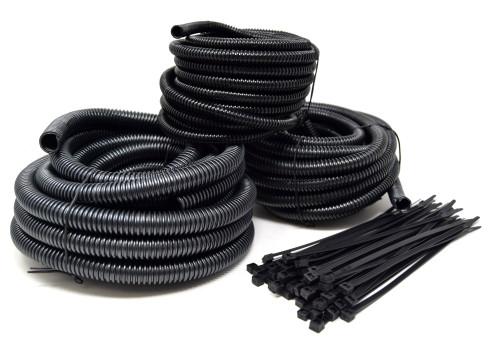 "20 Ft Split Loom 1/4"" 3/8"" 1/2"" Black Wire Harness Wrap w/ 7"" Nylon Cable Ties"