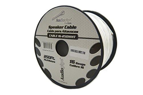 16 Gauge 250' Feet White Speaker Wire Stranded Copper Clad Home Audio Sound