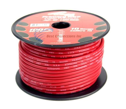 10 GA gauge 100 feet Red Audiopipe Car Audio Home Primary Wire