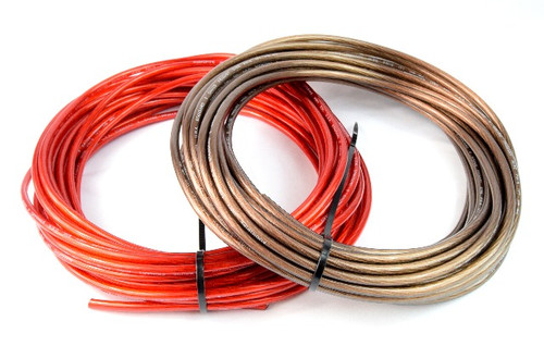 8 Gauge 100 Feet Total 50' Black and 50' Red Car Audio Power Ground Wire Cable