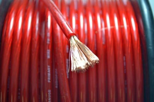 8 GA Red Power Ground wire 10 FT Hand Cut Piece Audiopipe Copper Mix