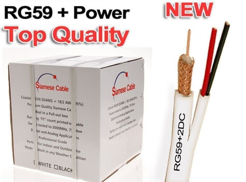 WHITE RG59 SIAMESE CABLE 500FT 95% BRAID SECURITY CAMERA WIRE CCTV VIDEO POWER