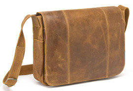 Distressed Leather Laptop Messenger
