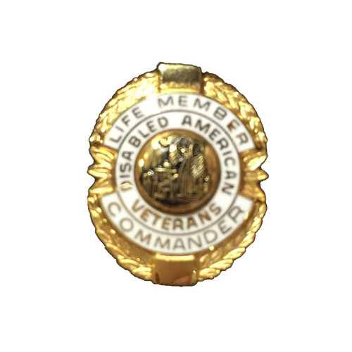 White Commander Life Member Officer Lapel Pin
