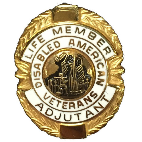 White Adjutant Life Member Officer Lapel Pin