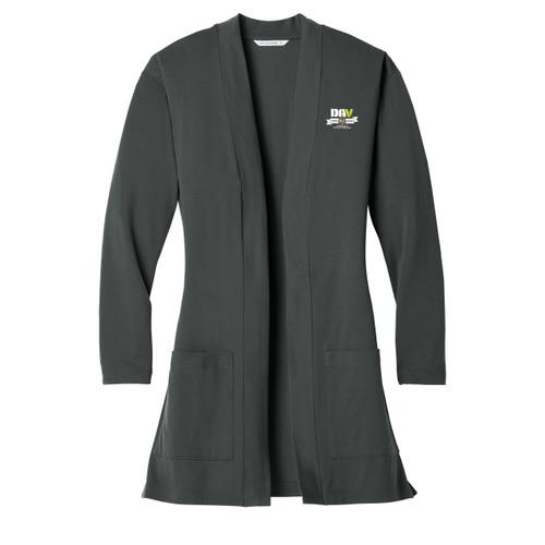 Ladies Concept Long Pocket Cardigan / Grey