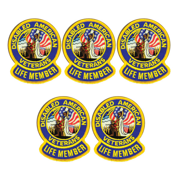 """3"""" Life Member Embroidered Patch / 5 Pack"""
