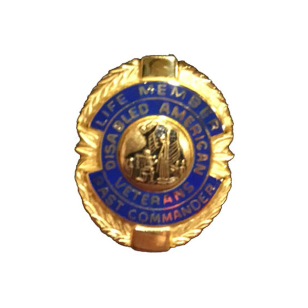 Blue Past Commander Life Member Officer Lapel Pin