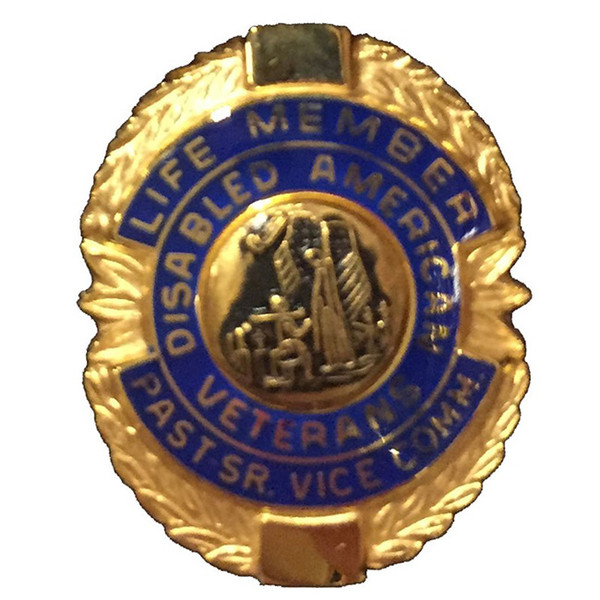 Blue Past Sr. Vice Commander Life Member Officer Lapel Pin
