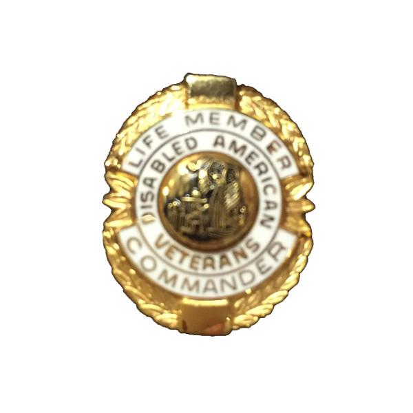 White Commander Life Member Officer Lapel Pin