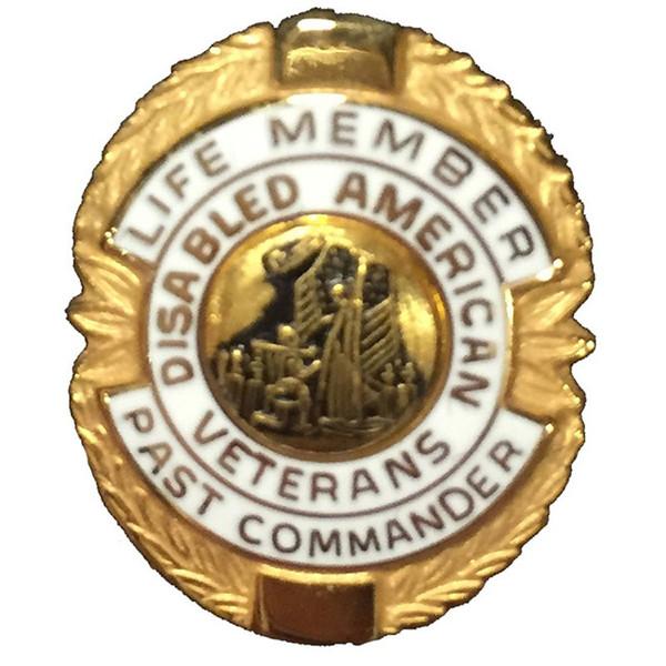 White Past Commander Life Member Officer Lapel Pin