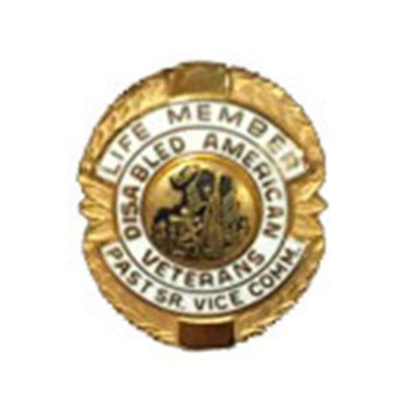 White Past Sr. Vice Commander Life Member Officer Lapel Pin