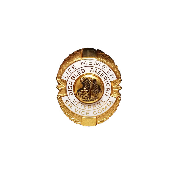 White Sr. Vice Commander Life Member Officer Lapel Pin