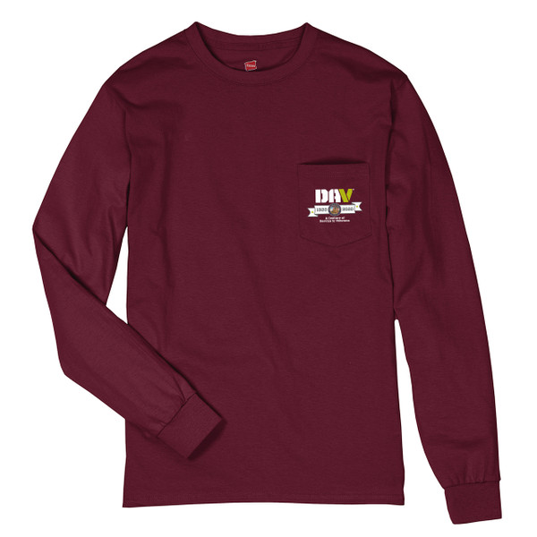 Burgundy Long Sleeve Pocket Tee