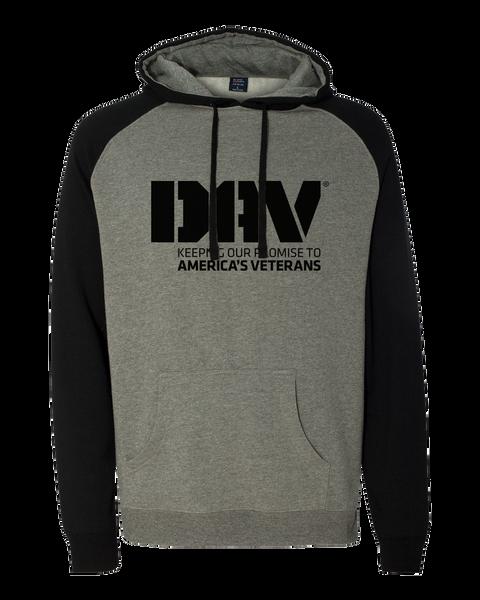 Unisex Raglan Hooded Sweatshirt / BlackGrey