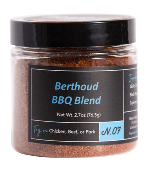 Berthoud BBQ Blend is so good that the owner named it after his home town.  A blend that encompasses savory and tangy at the same time while keeping the heat to a minimum. A very good mild all purpose rub. Goes great on Beef, Chicken, or Pork.  Ingredients- Paprika, Cumin, Garlic, Onion, Rosemary, Sage, Black Pepper, Salt, Mustard, Cayenne Powder       Net Weight 1.5 oz