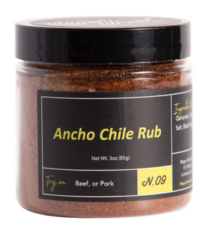 Ancho Chile rub is made with Ancho Chile, Mexican Oregano, and Allspice, along with several other spices. The Ancho Chile provides a nice smoky heat, combined with the earthly flavor of Mexican oregano, and the tang of allspice and coriander, makes for a well balanced rub. This rub works fantastic on sea food, red meat, or poultry.   Ingredients- Ancho Chile, Paprika, Coriander, Oregano, Cumin, Allspice, Salt, Black Pepper   Net Weight 1.5 oz