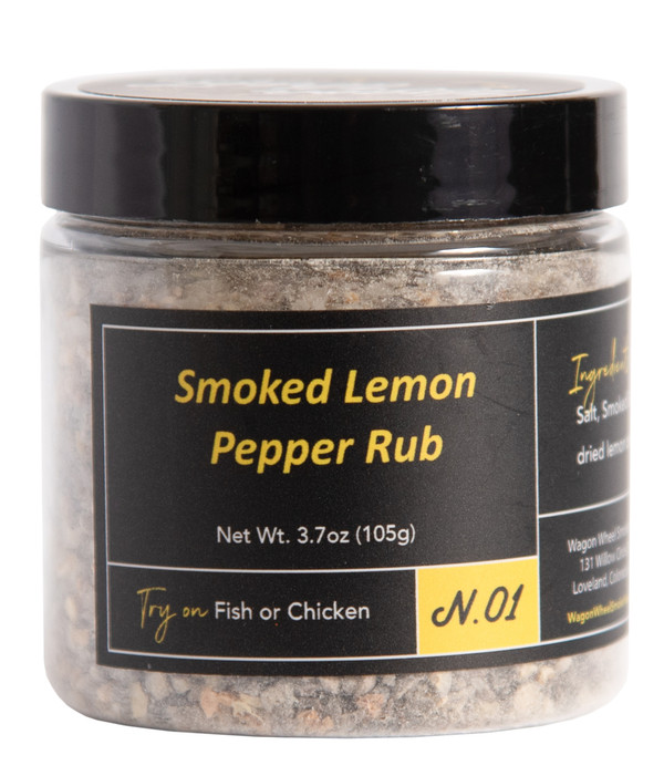 Smoked Lemon Pepper Rub brings out the best flavors in Chicken or Fish. By combining smoked pepper and smoked sea salt balanced with Lemon Peel and garlic it makes for a tangy and savory combination.  Ingredients- Smoked Pepper, Smoked Sea Salt, Lemon Peel, Garlic    Net Weight 2 oz