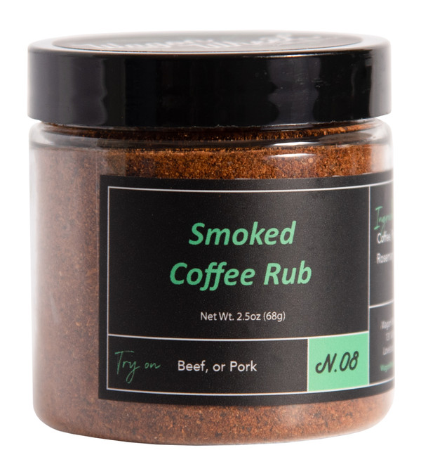 Smoked Coffee rub is made using locally roasted coffee beans which are freshly ground and then slow smoked, Then blended with Ancho Chile, paprika, sage, and rosemary, and several other spices. Smoked coffee rub has a savory, earthly, and slightly spicy flavor. This rub blends very well with brown sugar. This blend goes works great on pulled pork, ribs, or brisket.  Ingredients- Ancho Chile, Smoked Coffee, Paprika, Garlic, Cumin, Sage, Rosemary, Pepper, and Salt  Net Weight 1.2 oz