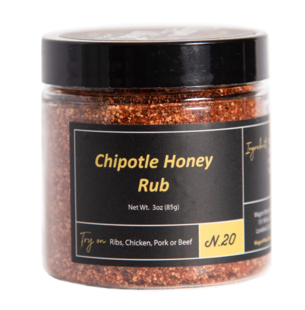 Chipotle Honey Rub makes a great addition to chicken wings or ribs. The flavor profile of this rub starts off very sweet with some heat, the heat slowly builds until it gets pretty hot as the chipotle chile powder kicks in. This rub is great for people that can handle a decent amount of heat despite the name is defiantly in the hot category.   Ingredients- Dry Honey, Chipotle Chile Powder, Onion Powder, Paprika, Salt, Black Pepper