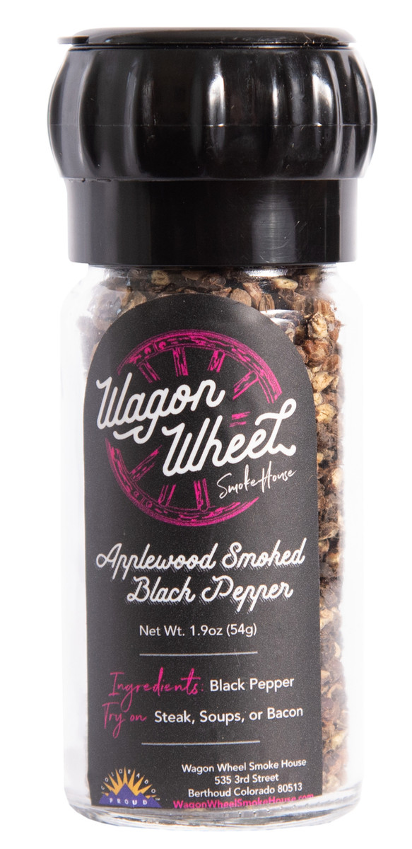 Apple Wood Smoked Black Pepper is combines the sharp bite of fresh pepper and nice level of smoke which brings out a deep rich flavor. Smoked Black Pepper is made by placing cracked black pepper on screens and is placed into a smoker for 4 to 5 hours using Colorado fruit wood, after cold smoking for this amount of time the desired flavor is achieved. This makes a great table pepper replacement weather it is used on eggs, bacon, salad, or anything else. It comes in a reusable glass grinder.   Ingredients- Black Pepper