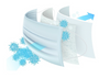 A  3D image  showing the 3 layers of the 3 ply face mask