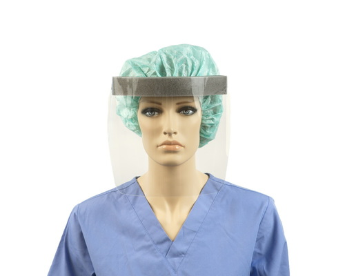 A mannequin wearing the Face Shield to help protect from the spread of COVID-19.