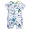 Bamboo Cotton Baby Romper Printed - Unisex Green Trim