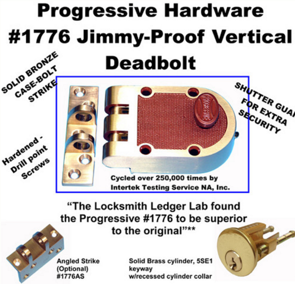 Progressive Hardware 1776 Jimmy-Proof Vertical Deadbolt