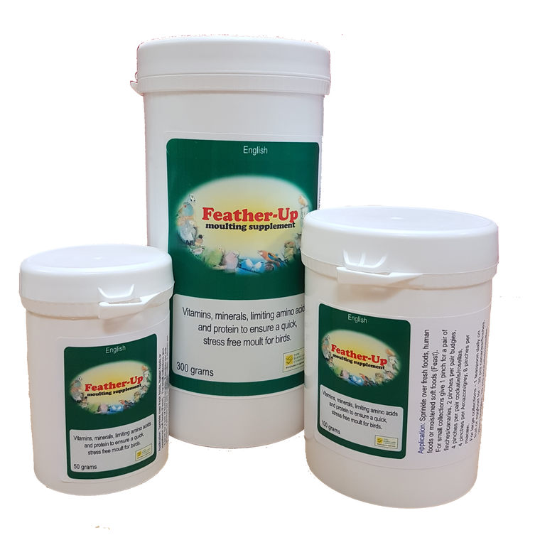 On food moulting supplement for birds containing multi-vitamins, minerals, amino acids and protein. Helps to promote excellent feather condition and speeds up the moulting process.