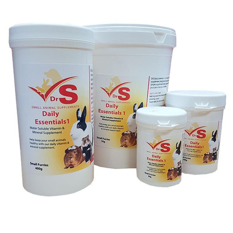 Water soluble small animal vitamins plus Rapisorb major and trace minerals.