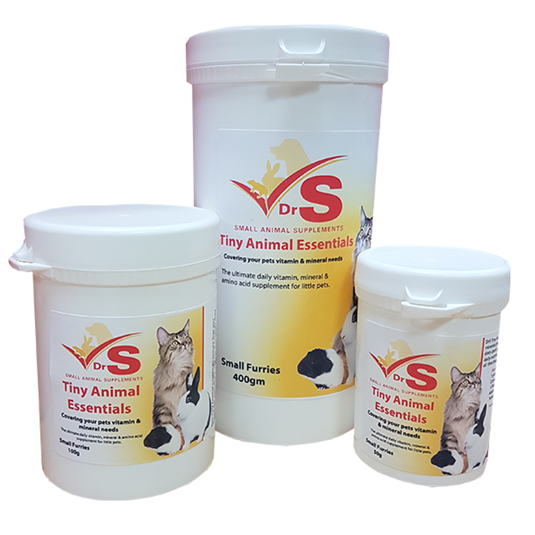 Tiny Animal Essentials contains high quality vitamins, major and trace minerals, essential amino acids and herbal extracts for mice, rats, hamsters, gerbils and other small mammals.