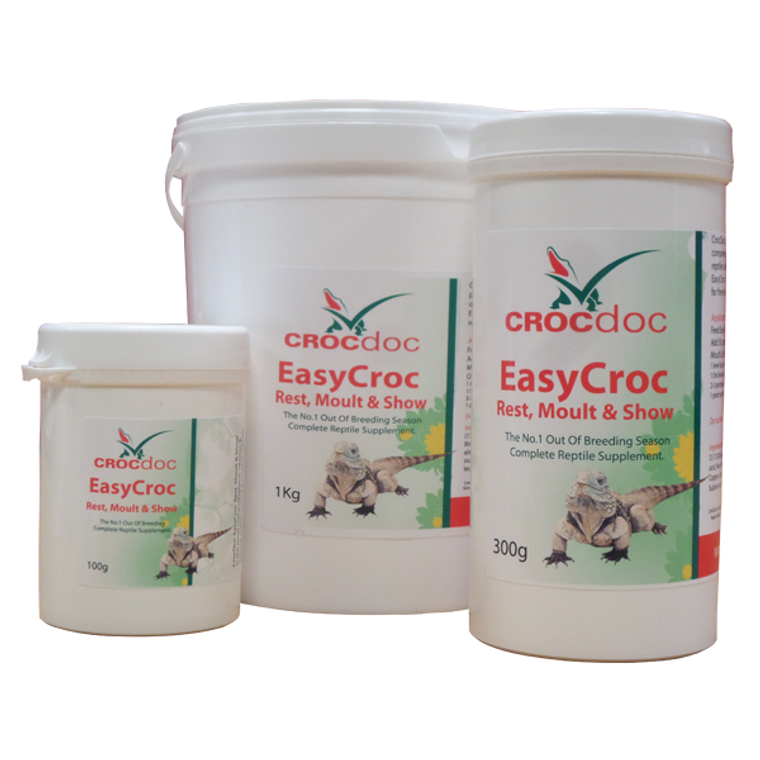 CrocDoc EasyCroc Rest, Moult & Show is the most comprehensive vitamin & mineral supplement for reptiles outside of breeding in the world.  EasyCroc contains all the things that reptiles needs for health and well being.