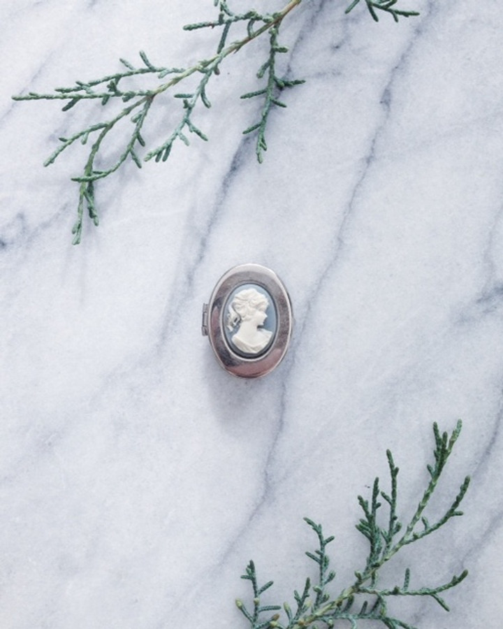 vintage solid perfume compact - blue cameo box