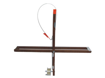 EXPLORER WOOD STICK TIP-UP W/ 500' METAL SPOOL - DUAL RAIL DESIGN