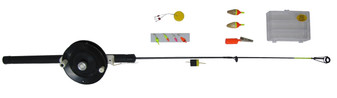 24 GRAPHITE JIG POLE KIT W/ LURES, ETC.