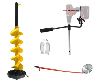 """Nordic Legend I-Drill Auger KIT 8"""" Dia. W/ICE Scoop Chipper and 1 Set REPLACMENT Blades…"""