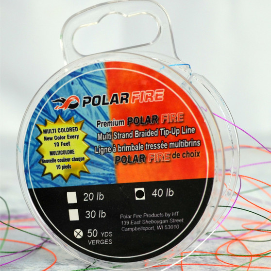 PREMIUM MULTI-COLORED 40# TEST BRAIDED lINE - NEW COLOR EVERY 10 FEET - 50 YDS/SPOOL