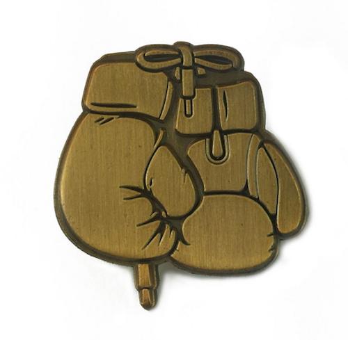 golden gloves enamel pin