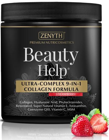 Zenyth Beauty Help Ultra-Complex 9-in-1 Collagen Strawberry Flavored Formula 300 G