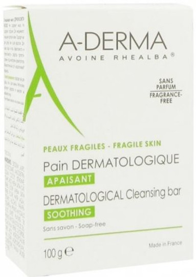 A-Derma Dermatological Bar Cleanses Soothing Fragrance-Free