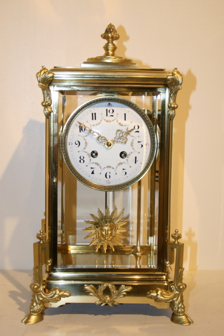 Circa 1890 French 4 Glass Mantel Clock