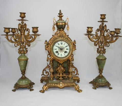 Circa 1890 - Stunning French Green Onyx Clock & Candelabra Set