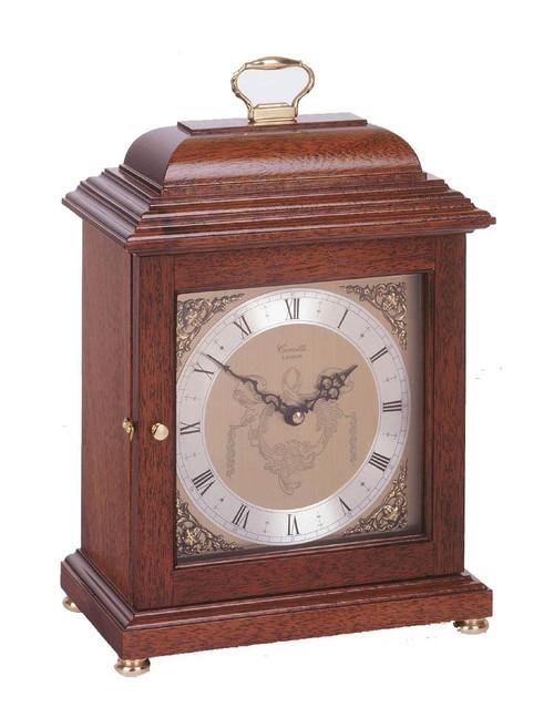 C4011Q- Comitti of London - The Basket Top Mahogany Mantel Clock
