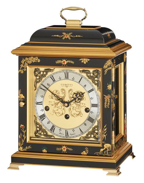 C4613TCH-B - Comitti of London Georgian Bracket Clock - Chinoiserie (Black)